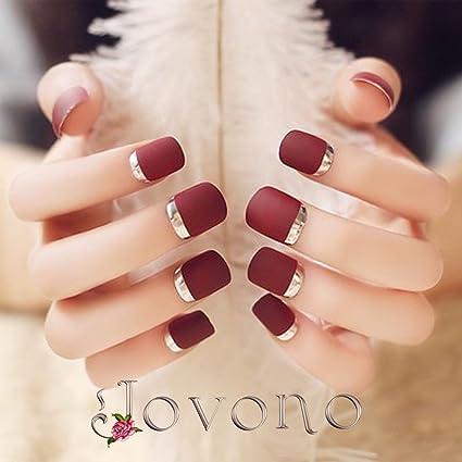 Jovono - 24 uñas postizas de color rojo vino natural, con ...