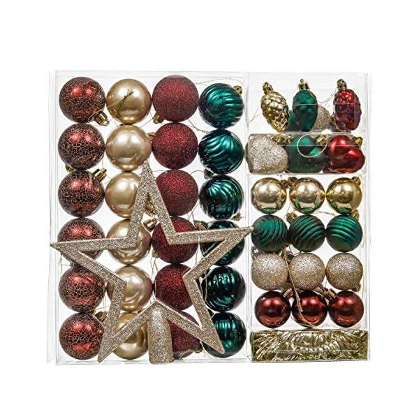 Valery Madelyn Palle di Natale 60 Pezzi di Palline di Natale, 3-5 cm di Strada di Campagna Rosso Verde e Oro Infrangibile Ornamenti di Palla di Natale Decorazione per la Decorazione 1 spesavip