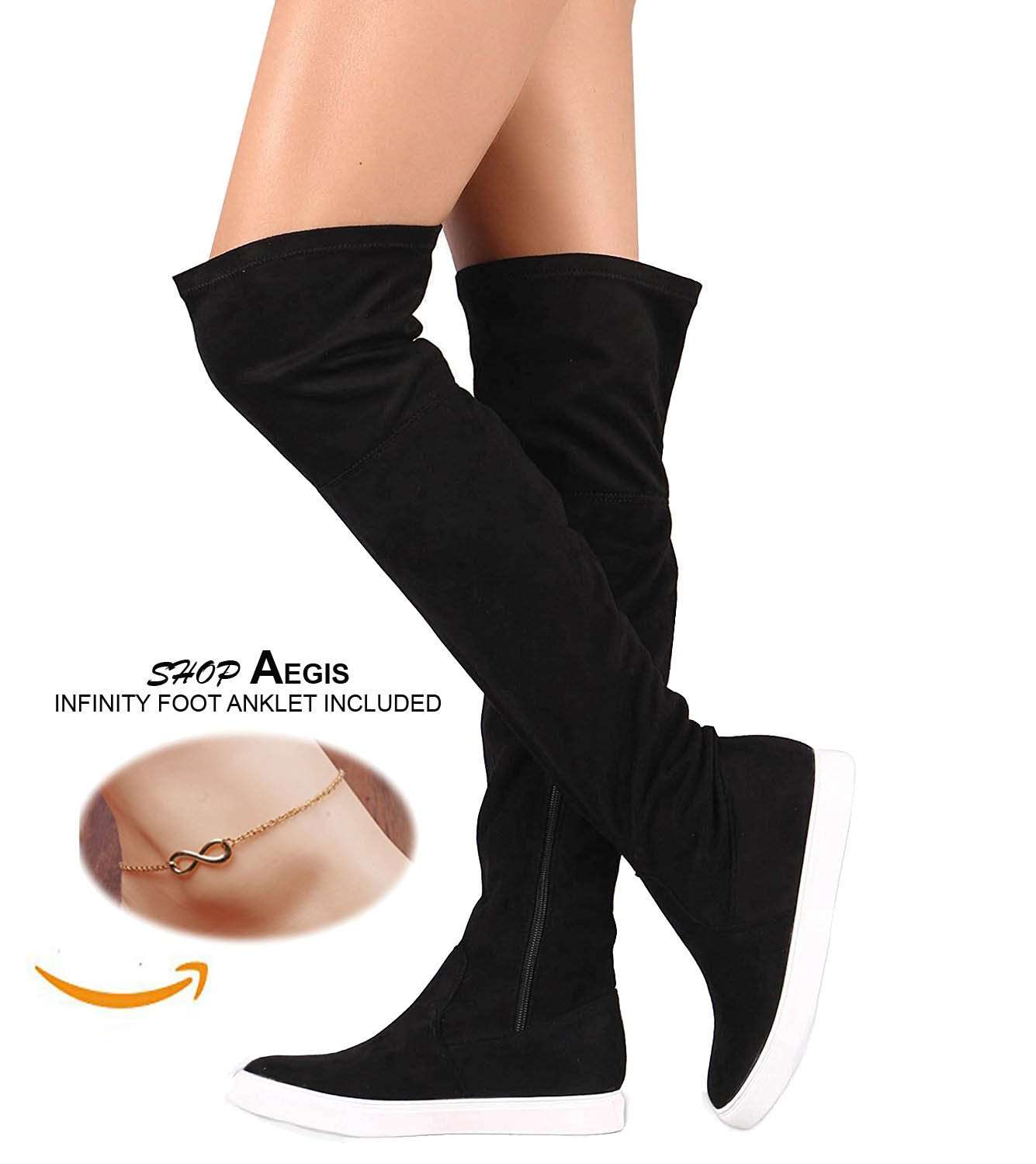 Glaze. Stylish Women's Trendy Lounge Black Suede High Over-The-Knee Chic Sneaker Boots Zip Closure Shop Aegis Foot Anklet [Size 5.5]