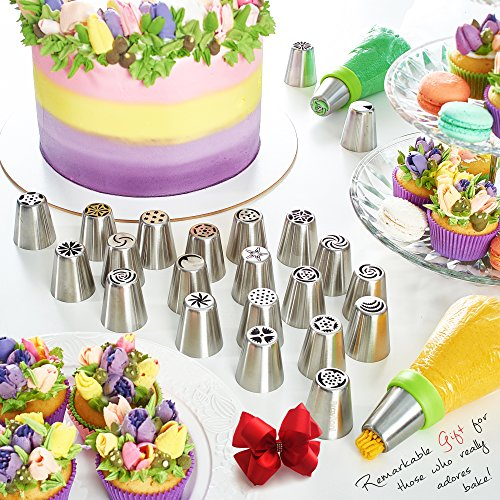 Russian Piping Tips - Cake Decorating Supplies - 39 Baking Supplies Set - 23 Icing Nozzles - 15 Pastry Disposable Bags & Coupler - Extra Large Decoration Kit - Best Kitchen Gift by Braviloni (Image #1)