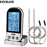iHOMEARD Digital Thermometer Wireless for Cooking, Barbecue/BBQ Grill, Oven, Baking, Roast, Pre-set Temperature Intelligent Remote Control with 2 Stainless Steel Probe and Alarm System
