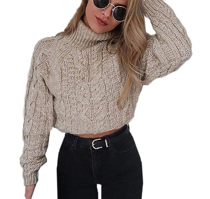 1726398270 Autunno e Inverno Corto Maglioni Casual Collo Alto Maglie a Manica Lunga  Sweater Cime Pullover Donna Moda Maglieria Tops Jumpers Bluse