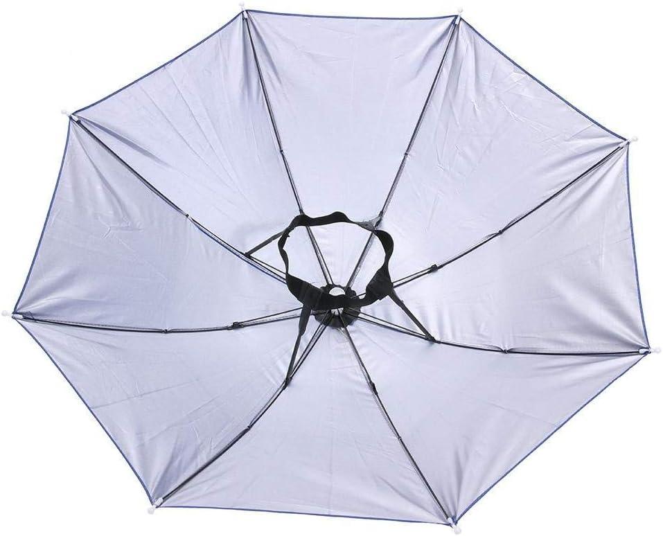 SUKRAGRAHA 25 inch OutDoor Working Rain HeadHeld Umbrella Headwear Sunshield Blue