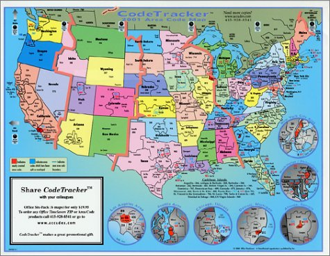 2001 CodeTracker Area Code Map: area codes of US, Canada and ...