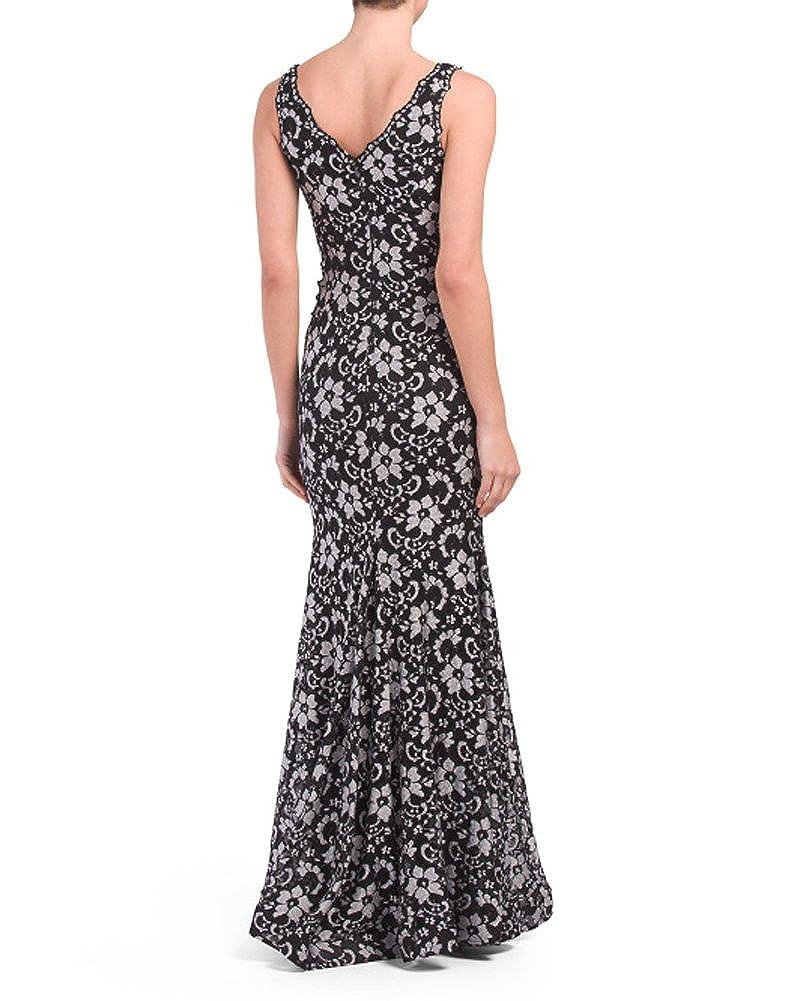 Xscape Women/'s Sequined Lace Halter Gown 8, Black//Mocha