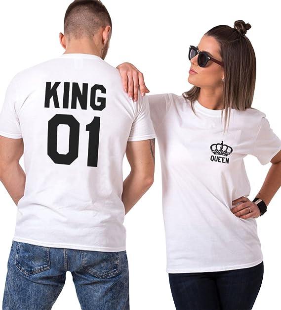 Pareja Camiseta Shirt King Queen Couple 100% Algodón Manga Corta Impresión T-Shirt Blanco Negro Regalo de San Valentín Cumpleaños para Mujer Hombre: ...