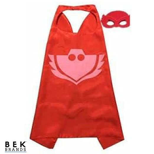 Bek Brands PJ Masks Owlette Superhero Cape and Mask Set | Dress up Satin Cape and