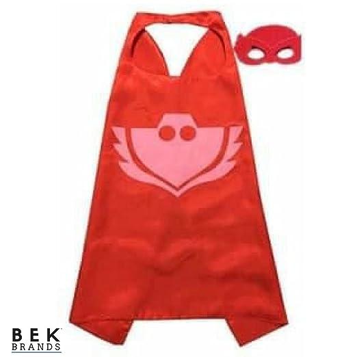 Bek Brands PJ Masks Owlette Superhero Cape and Mask Set   Dress up Satin Cape and