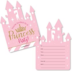 Little Princess Crown - Shaped Fill-in Invitations - Pink and Gold Princess Baby Shower or Birthday Party Invitation Cards with Envelopes - Set of 12
