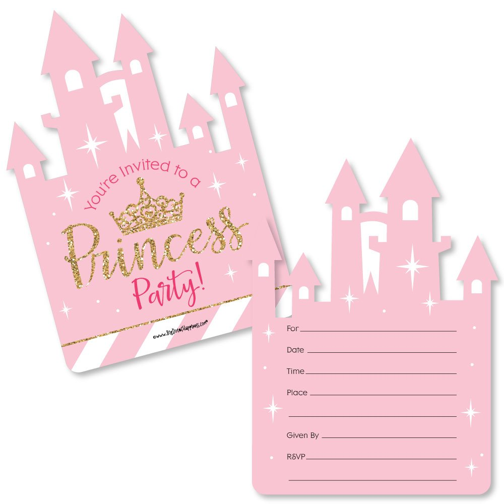 Little Princess Crown - Shaped Fill-In Invitations - Pink and Gold Princess Baby Shower or Birthday Party Invitation Cards with Envelopes - Set of 12 by Big Dot of Happiness