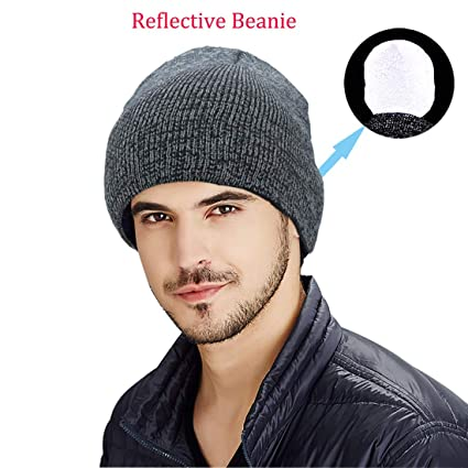 2e3d9e19 Image Unavailable. Image not available for. Color: Genuva Warm and  Comfortable Reflective Unisex Knitted Beanie Hat, High Visibility  Reflective Beanie Cap ...
