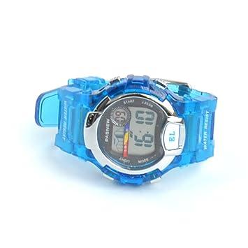 Pasnew 170G - Reloj digital para niños (sumergible hasta 30 m, correa transparente) deep blue transparent Talla:37 x 14 mm: Amazon.es: Relojes