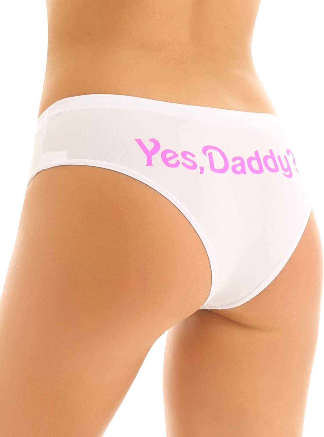 Freebily Womens Yes Daddy Letter Printed Low Rise Knickers Cheeky Panties Underwear