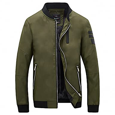 99f85aa09dda6 Mens Jackets Solid Fashion Coats Male Casual Slim Stand Collar Jacket Men  Overcoat Army Green M