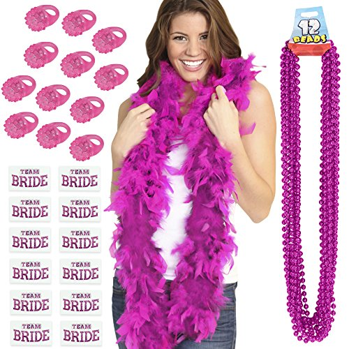 Bachelorette Party Favors Kit - 1 Hot Pink Feather Boa, 12 Fuchsia Party Beads, 12 Light Up Rings & 12 Team Bride Bachelorette Tattoos ()