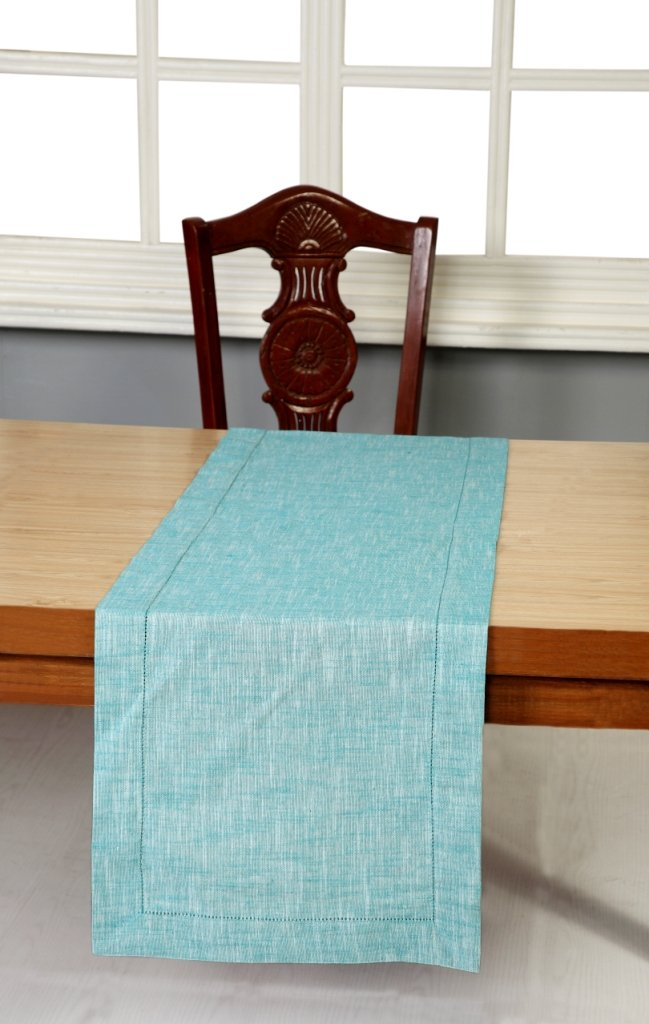Linen Clubs Slub Cotton chambray Hemstitched Table Runner -16x72 Teal White by Linen Clubs