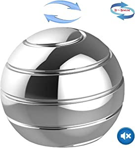 Panshi Metal Kinetic Desk Toy, Optical Illusion Fidget Spinning Top Ball, Unique Executive Stress Relief Gift for Adults & Kids