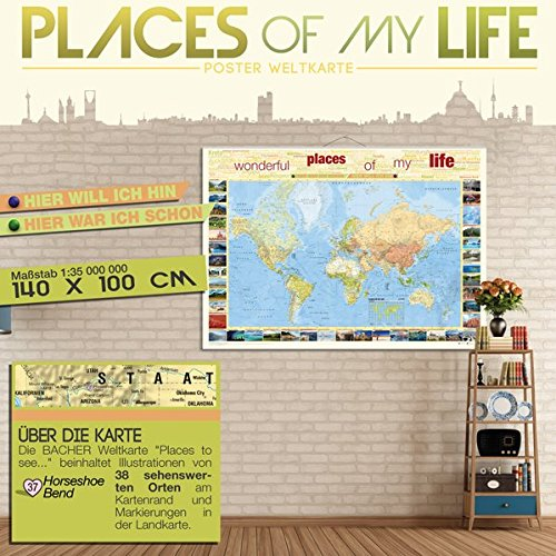 Price comparison product image Places of my Life,  Poster Weltkarte,  foliert und beleistet,  inkl. Neoballs