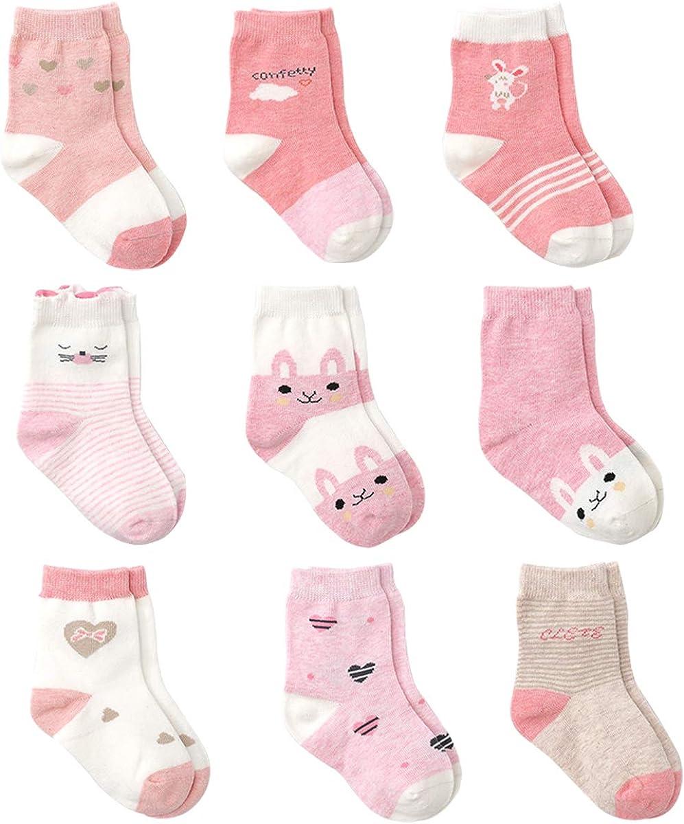 Cotton Coming Rosa Algodón Niñas Calcetines Bebé,9 Pares Lindo adj. Bebé Calcetines Niña