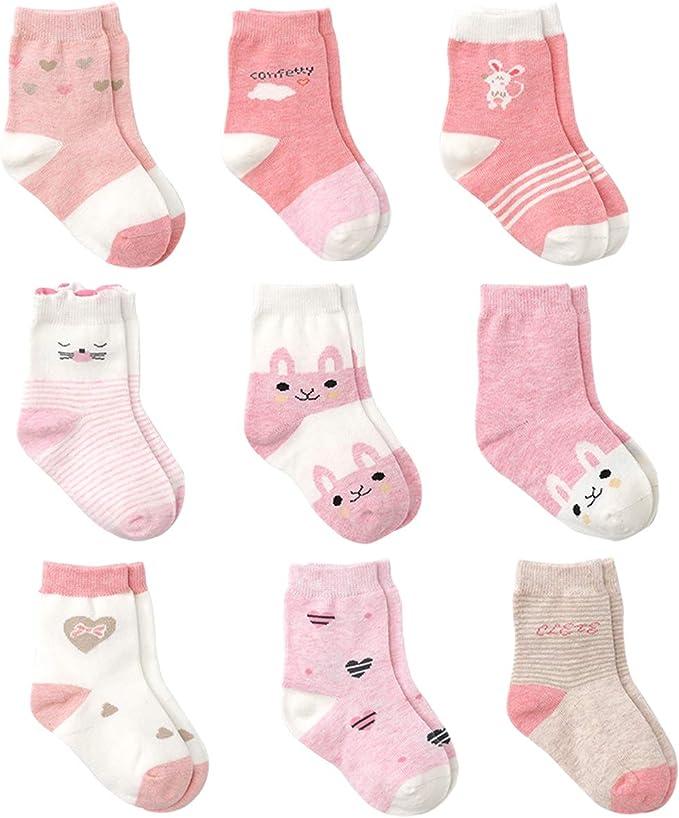 Cotton Coming Rosa Algodón Niñas Calcetines Bebé, 9 Pares Lindo ...