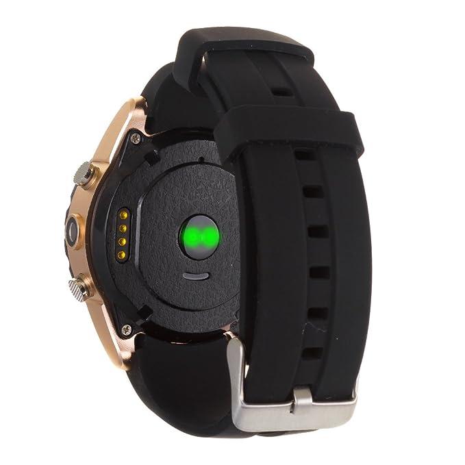 DAM - Smartwatch Bt Con Cámara Y Monitor Cardiaco Kw08 Gold. Posibilidad de tarjeta SIM y tarjeta de memoria micro SD. Cámara de fotos incorporada con ...
