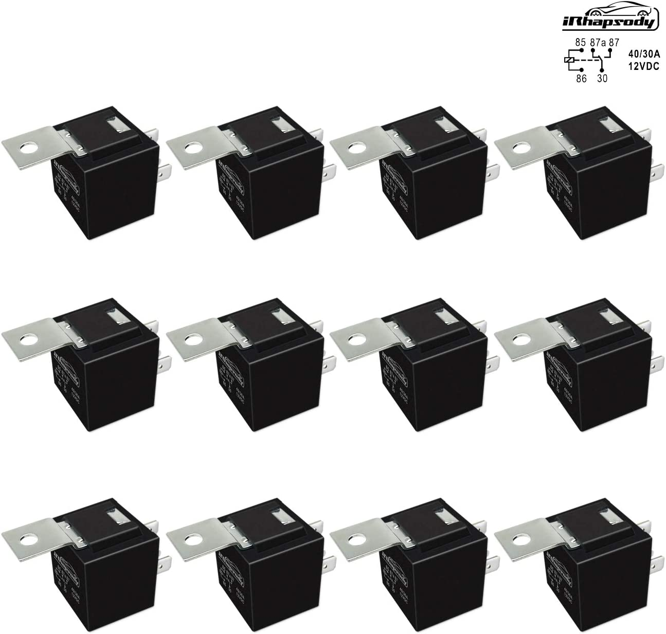 12 Pack 40/30 AMP 5 Pin SPDT 12 V DC Bosch Style Relay Switch for Electrical Automotive Truck Marine Boat (No Relay Socket and Wiring Harness)
