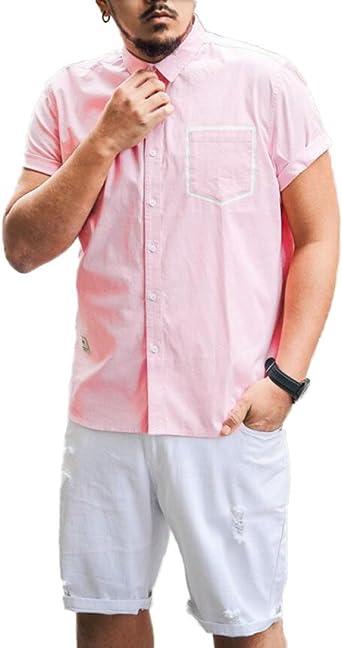 GHGJU Camisa De Hombre Camisa De Manga Corta con Bolsillo De Parche Cómoda Y Transpirable EN Primavera Y Verano: Amazon.es: Ropa y accesorios
