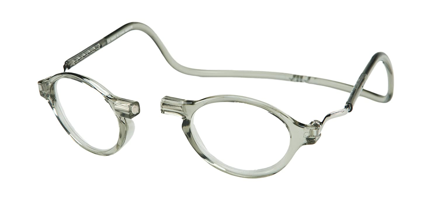 CliC Magnetic Classic Reading Glasses, Grey, +1.75