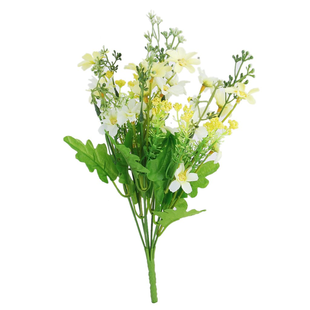 1 Bunch of Cineraria Artificial Flower Bouquet Home Office Decor (Light yellow and White) Generic AN4405