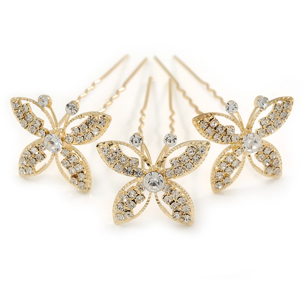 Avalaya Bridal//Wedding//Prom//Party Set of 3 Gold Tone Clear Austrian Crystal Butterfly Hair Pins