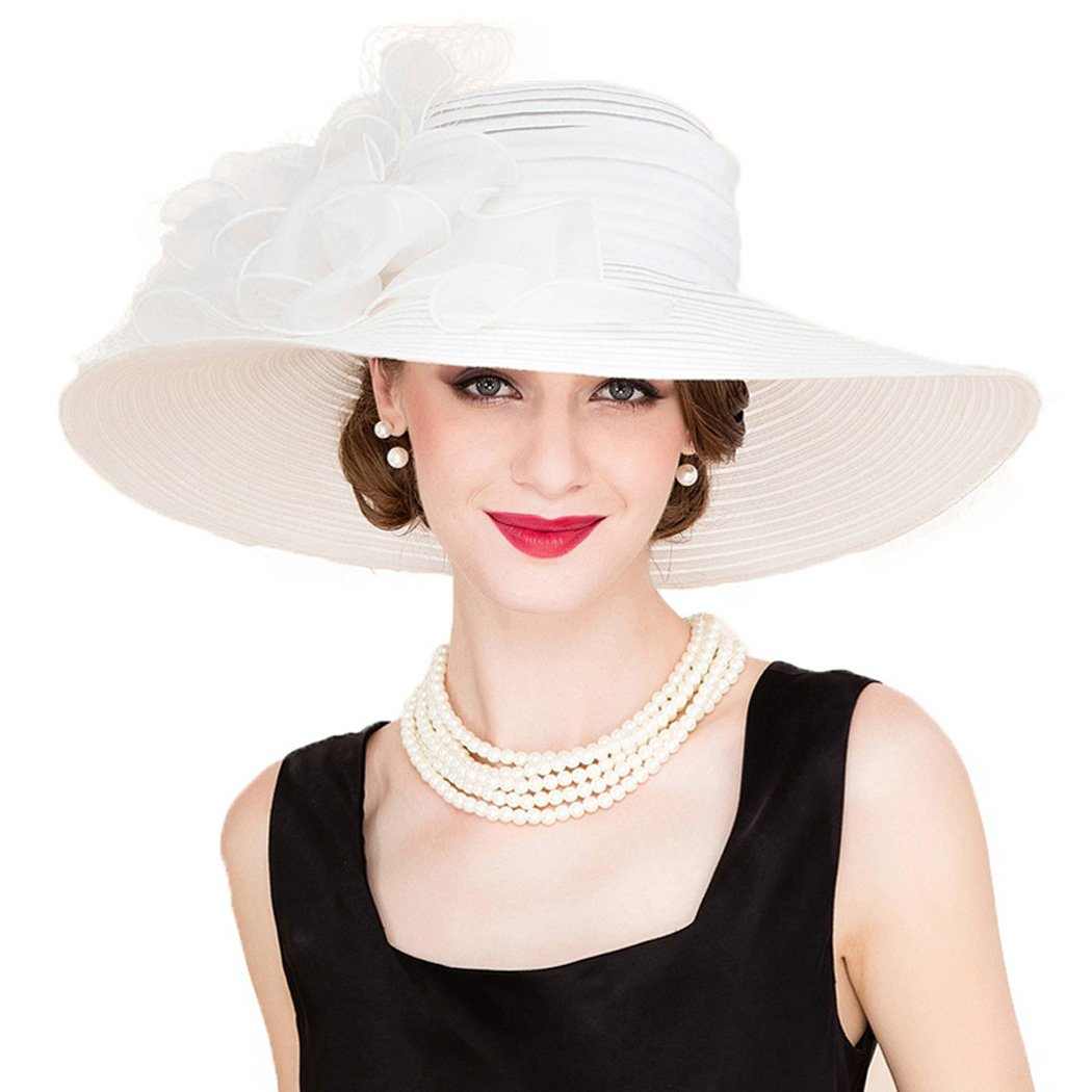 Womens FascinatorsElegant White Church Hats Large Wide Brim Organza Derby Hat