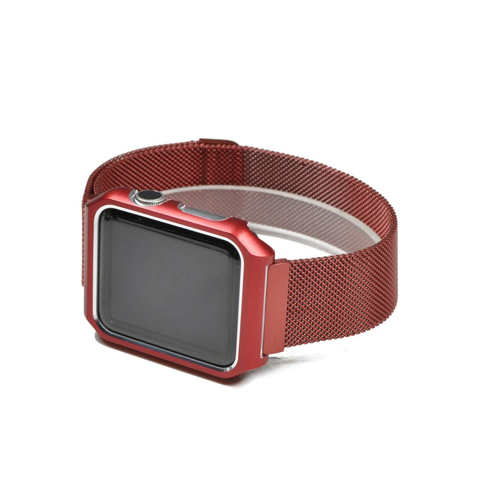AHXLL Compatible for Apple Watch 38mm 42mm, Mesh Milanese Loop Stainless Steel Replacement iWatch + Metal Protective case for Apple Watch Series 3, Series 2, Series 1, Sport& Edition (Red, 42MM)