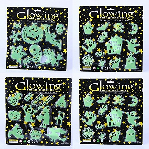Halloween Noctilucent Glow in The Dark Sticker Glowing Stickers Decor Halloween Party Horrible Scary Decorations Favors Supplies 2 Sets
