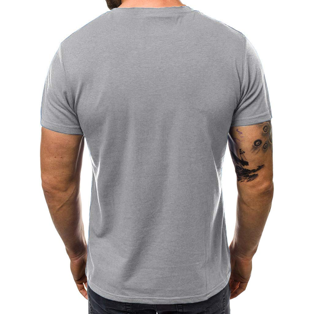 Fashion Mens Short Sleeve Summer Casual Loose Letter Print Color Block Lightweight Tops Asibeul