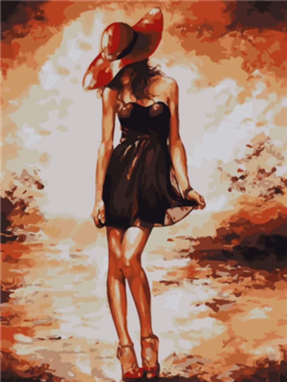 Pintura Al Óleo Digital Diy - Pintura Por Números Vestido Negro Mujer Pintura Acrílica Niños Adultos Regalo De Navidad Sin Marco 40x50cm