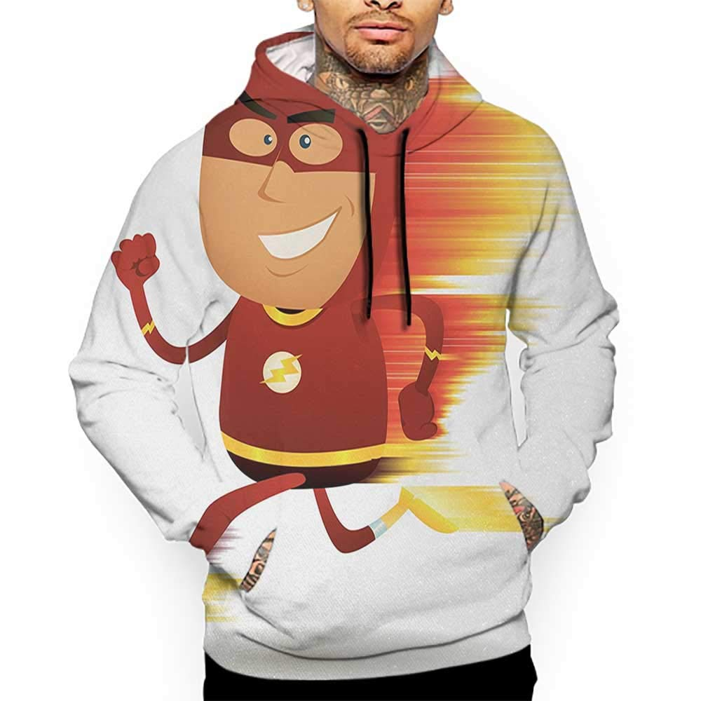 Unisex 3D Novelty Hoodies Superhero,Lightning Bolt Man with Cape and Mask Fast Fun Cartoon Character Artwork Print,White Red Sweatshirts for Girls