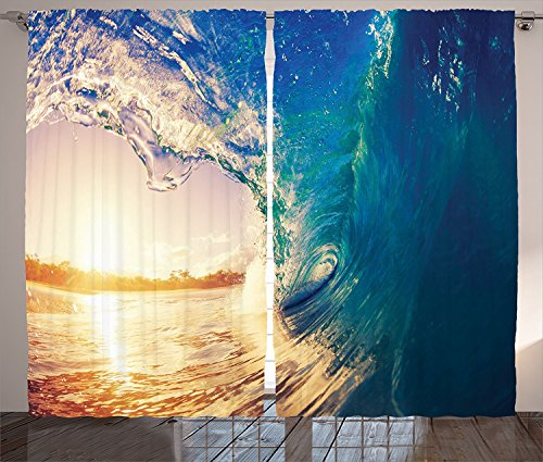 Ocean Decor Curtains 2 Panel Set Ocean Wave at Sunrise Reflection on Surface Tropical Trees Shoreline Summertime Picture Living Room Bedroom Decor Teal Gold (Photo Summertime Sun)