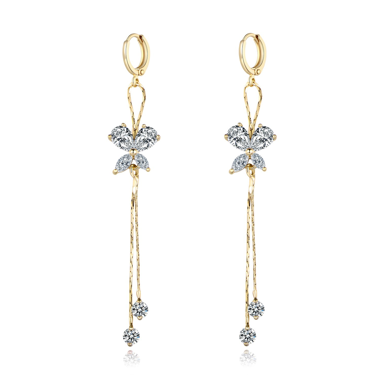 Amazon.com  MASOP Gold Tone White Crystal Drop Dangling Earrings Women Girls  Wedding Jewelry  Jewelry d635d1772644