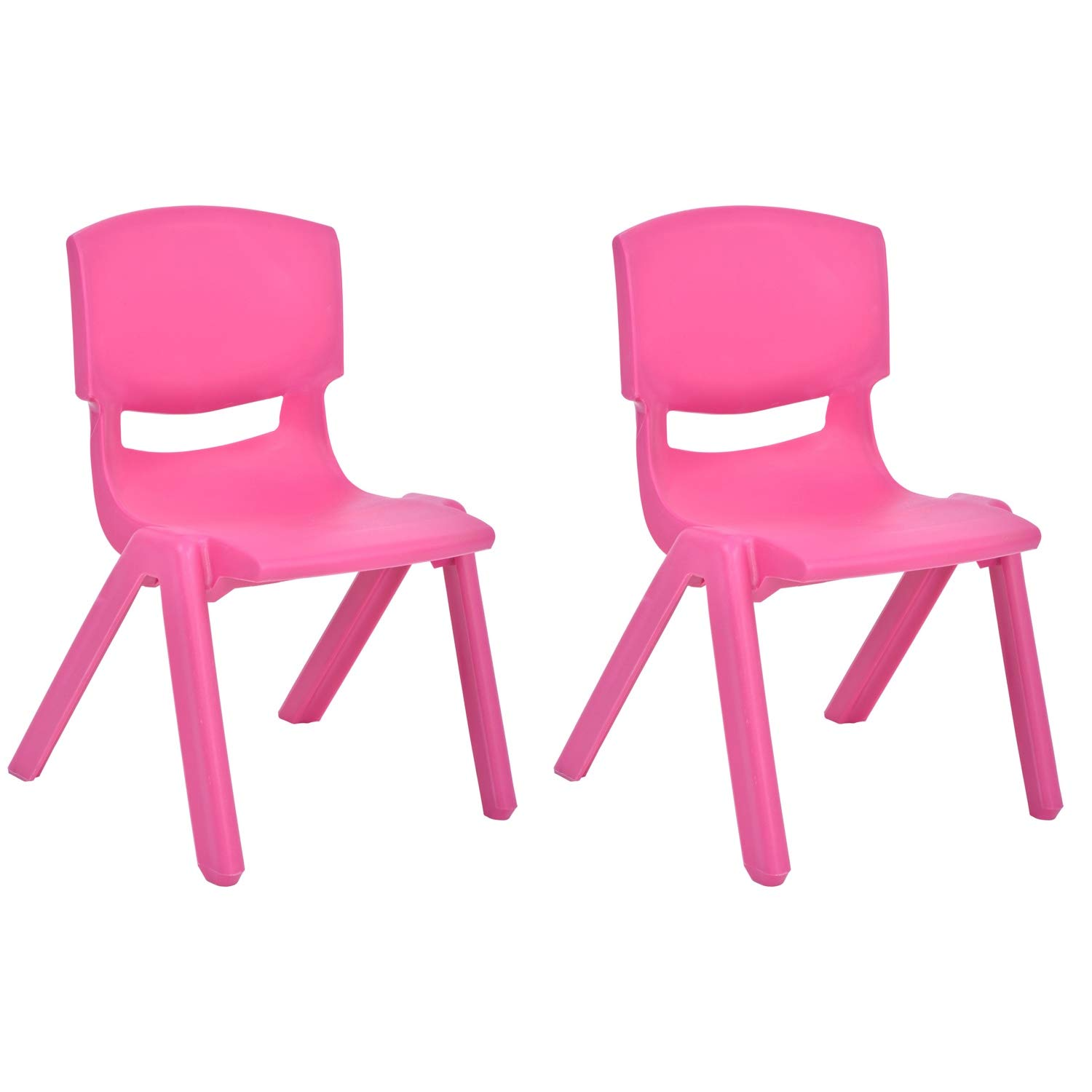 JOON Stackable Plastic Kids Learning Chairs, 20.5x12.75X11 Inches, The Perfect Chair for Playrooms, Schools, Daycares and Home, Rose, (2-Pack) by JOON