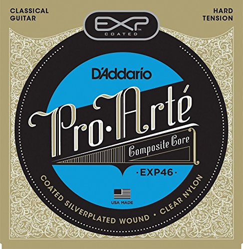 D'Addario EXP46 Coated Classical Guitar Strings, Hard Tension (Strings Silver Daddario Guitar)