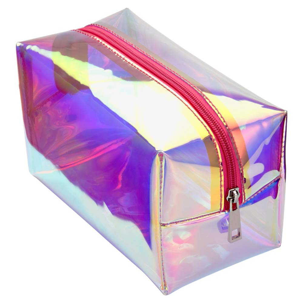Cambond Holographic Makeup Bag, 2 Pack Clear Cosmetic Bag Organizer Large Capacity Iridescent Makeup Pouch Clear Toiletry Pouch Hologram Clutch Cosmetic Pouch for Women
