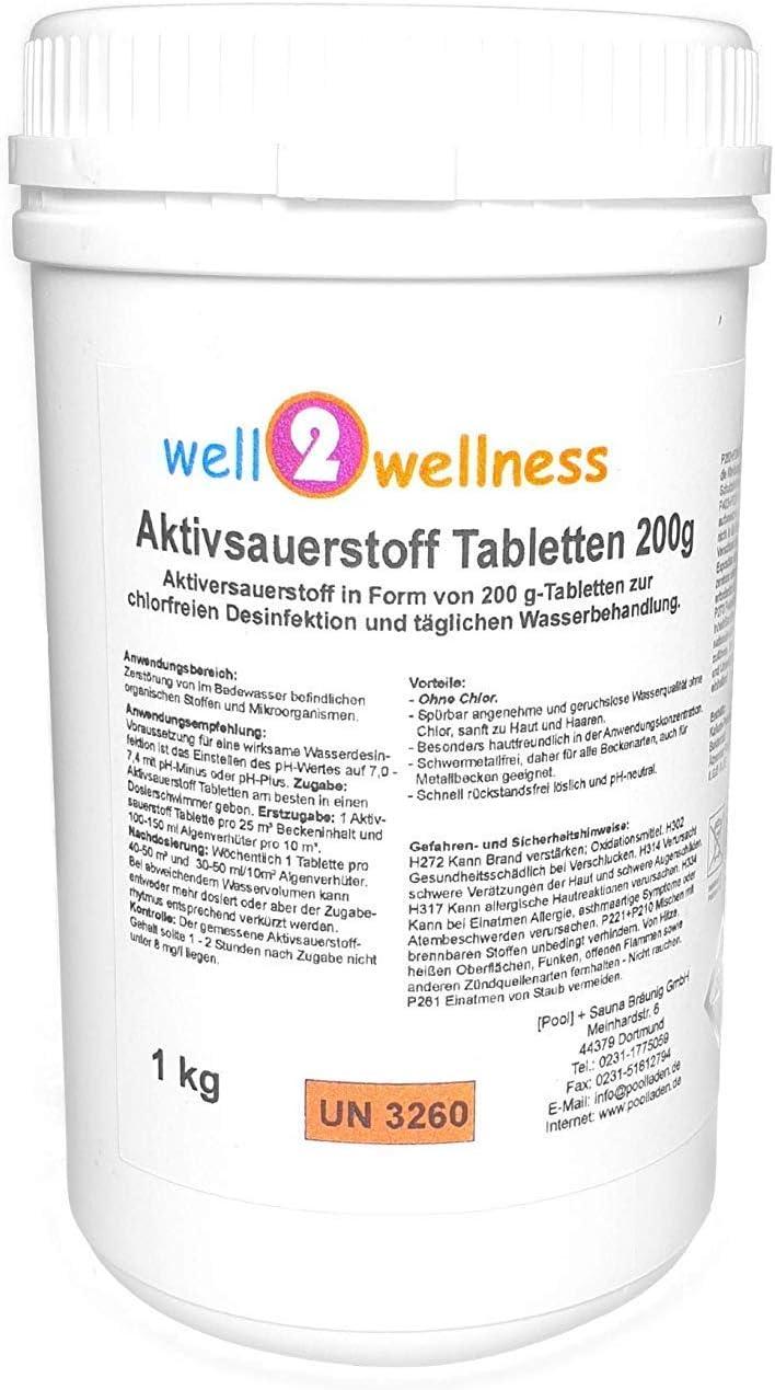 Pastillas oxígeno activo Well2wellness, de 200 g, sin cloro, 1 kg ...