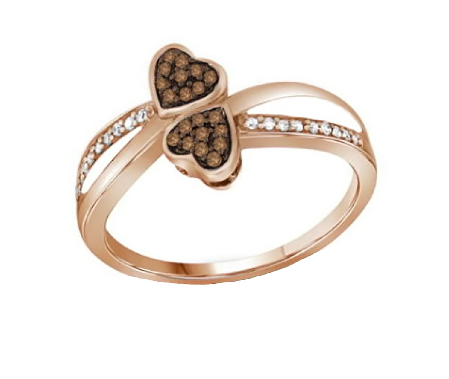 10K Rose Gold Brandy Diamond Chocolate Brown Double My Love Heart Promise Ring 1/10 Ctw. (8)