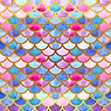 Fanghui 6X6FT Color Mermaid Scales Photo Studio Prop Baby Shower Background Party Decoration Supplies Photography Backdrops Vinyl Booth fh014
