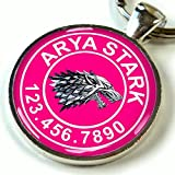 "Custom pet ID Tag dog cat pet tag Game of Thrones Hot Pink Stark Wolf SGL (Large 1.5"")"