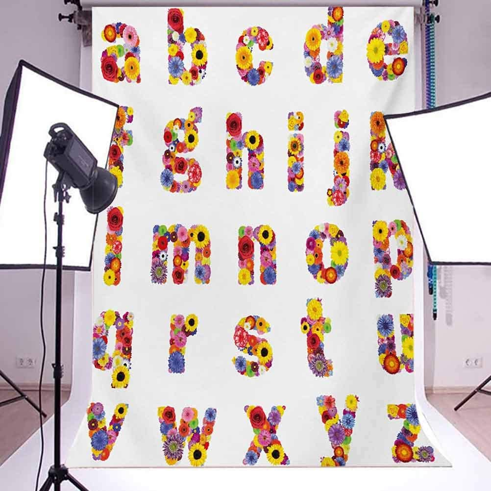 Letters 6.5x10 FT Photo Backdrops,Floral Alphabet with Blooming Letters Sunflower Cornflower Dahlia Rainbow Image Background for Photography Kids Adult Photo Booth Video Shoot Vinyl Studio Props