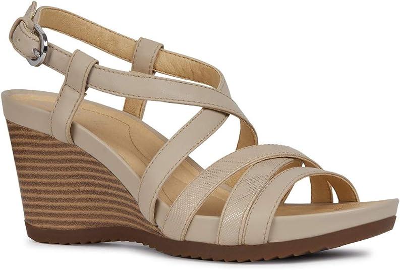 Geox D92P3B 05404 Sandalo Zeppa Donna Beige 38: Amazon.it