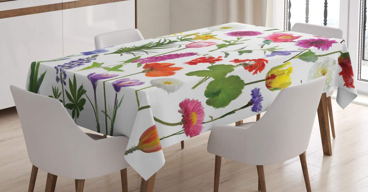 Ambesonne Flower Tablecloth, Types of Flowers Vivid Colored Roses Tulips Daisies Hydrangeas Lilacs Artwork Print, Dining Room Kitchen Rectangular Table Cover, 60