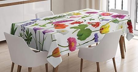 Imagen deABAKUHAUS Flor Mantele, Rosas de Color Tulipanes, Estampado con la Última Tecnología Lavable Colores Firmes, 140 x 200 cm, Multicolor