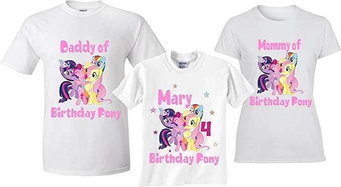 Amazon.com: GO.Custom feliz cumpleaños pony familia a juego ...